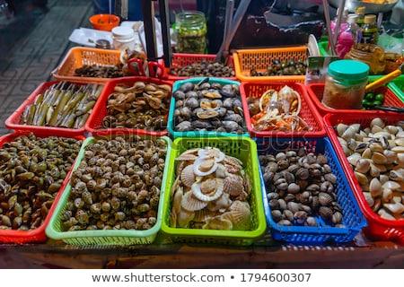 Friss tengeri hal piac ázsiai konyha hal utca Stock fotó © galitskaya