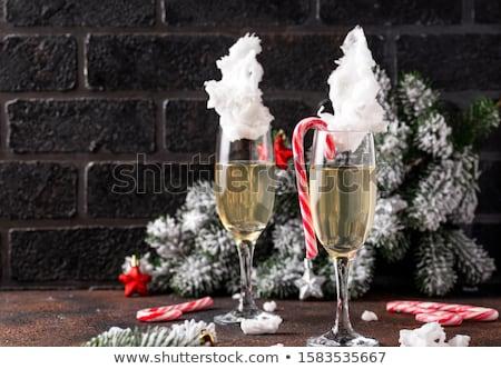 Champagne coton bonbons verres Noël nouvelle année Photo stock © furmanphoto