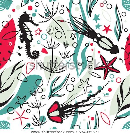 Cartoon bazgroły podwodne świat ilustracja monochromatyczny Zdjęcia stock © balabolka