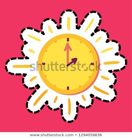 Sun clock stitched frame flat color sticker Stock photo © barsrsind