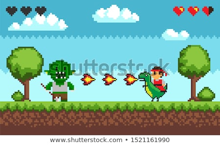 Pixel Fight Troll Monster and Characters Stock photo © robuart