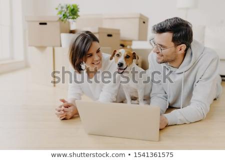 Para kłamać piętrze laptop projektu Zdjęcia stock © vkstudio