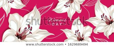 幸せ 女性の日 水平な バナー ユリ 花 ストックフォト © ikopylov