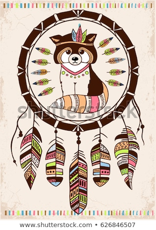 Cartoon colorful hand drawn doodles Native American poster Stock photo © balabolka