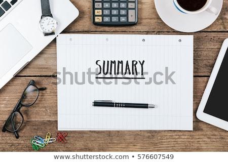összefoglalás kézzel írott szöveg notebook asztal 3d render Stock fotó © Mazirama