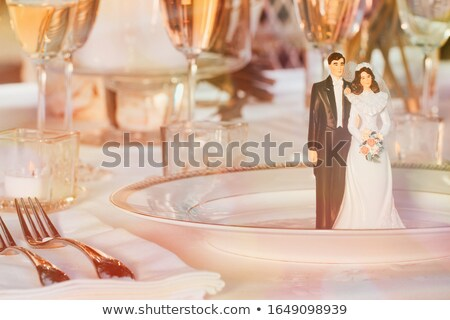 Cake figurines resting on plate at reception Stock photo © Sandralise