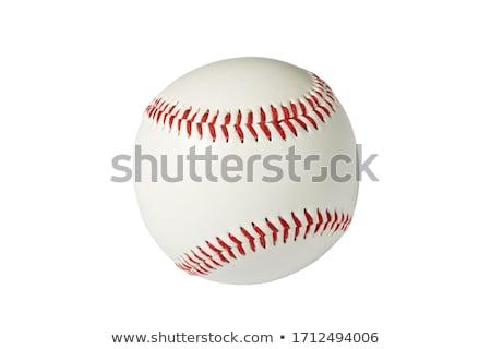 Izolat Baseball alb echipă bilă roşu Imagine de stoc © Suriyaphoto