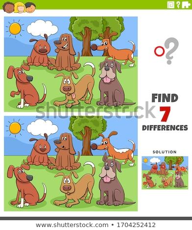 Différences tâche chien groupe cartoon Photo stock © izakowski