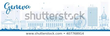 Outline Geneva skyline with blue landmarks.  Stock photo © ShustrikS