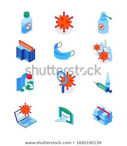 Coronavirus disease - set of modern isometric icons Stock photo © Decorwithme
