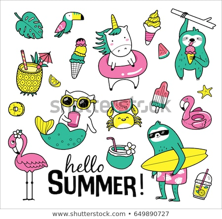 набор русалка Летние каникулы икона белый Сток-фото © bluering