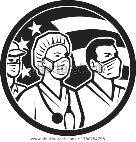 Saúde trabalhadores heróis EUA bandeira preto e branco Foto stock © patrimonio
