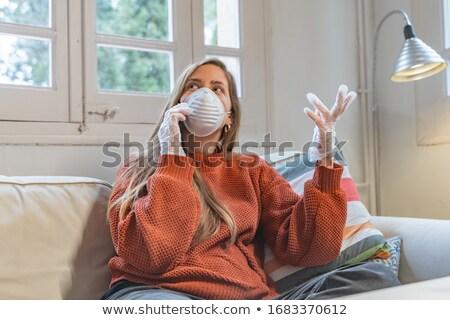 Vírus beteg nő koronavírus lélegzet fáradt Stock fotó © Maridav