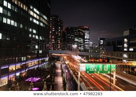 Япония шоссе знак зеленый облаке улице знак Сток-фото © kbuntu