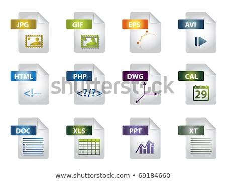 Ikonok iroda akta vektor szett szöveg Stock fotó © orson