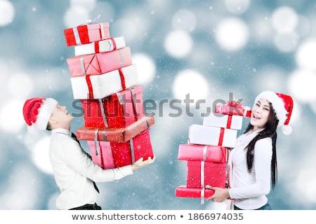 christmas woman carrying gift pile Stock photo © smithore