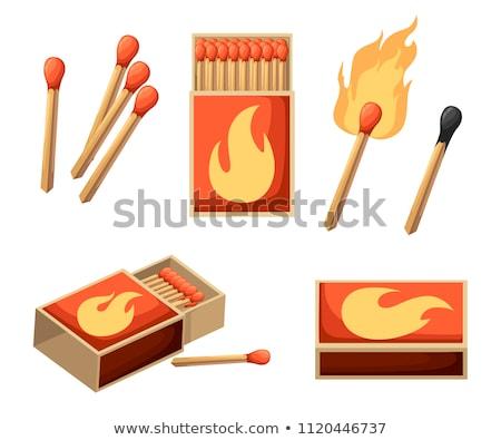 Wedstrijd vak brand hout achtergrond witte Stockfoto © AGorohov