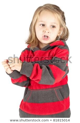 Szőke nő kislány pénz lány kéz szemek Stock fotó © photography33