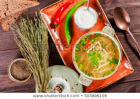 çorba · ahşap · masa · restoran · tavuk · akşam · yemeği - stok fotoğraf © zhekos