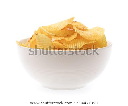 Ciotola chip macro patatine fritte bianco Foto d'archivio © frannyanne