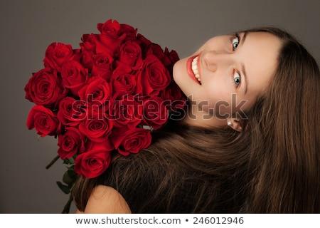 Сток-фото: смеясь · Lady · подарок · красный · щека