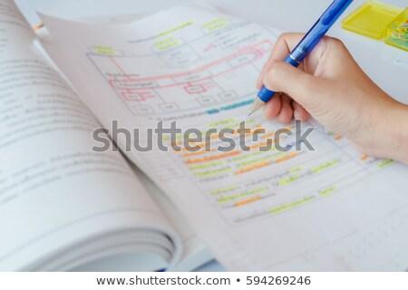Szín jegyzetek jegyzet papírok kettő jelző Stock fotó © luapvision