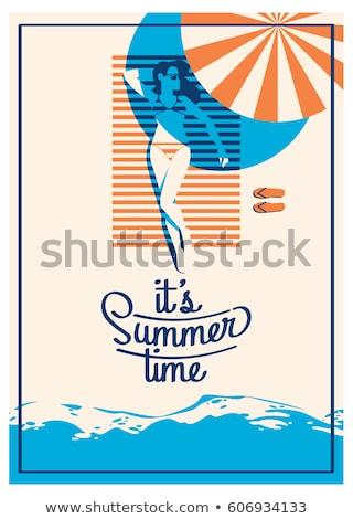 夏 手 傘 文字 花 背景 ストックフォト © aniriana