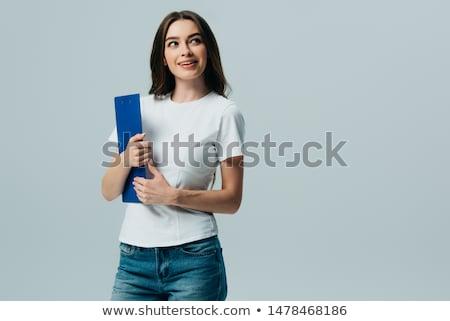 mulher · jovem · clipboard · isolado · branco · jovem · mulher · de · negócios - foto stock © juniart
