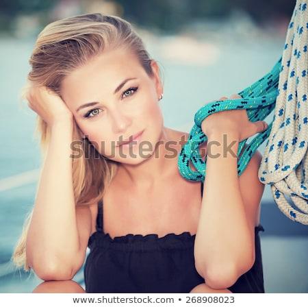 mujer · hermosa · lujo · yate · cuerda - foto stock © candyboxphoto