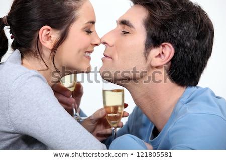 пару флейта шампанского счастливым пить молодые Сток-фото © photography33