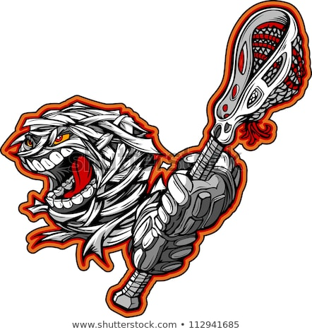 Halloween Mummy Monster With Lacrosse Stick Cartoon Vector Illus Stock foto © ChromaCo