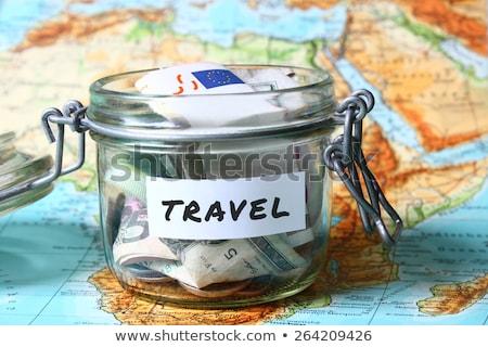 Költségvetést készít utazás terv iroda kéz térkép Stock fotó © haiderazim