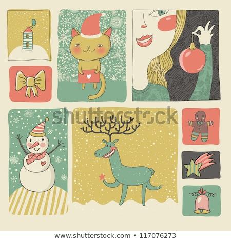 Nowego 2013 rok karty Święty mikołaj dziewczyna Zdjęcia stock © carodi