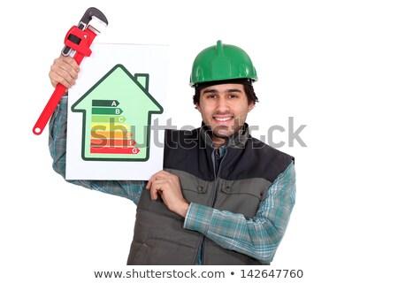Energie-efficiëntie grafiek man bouw Stockfoto © photography33