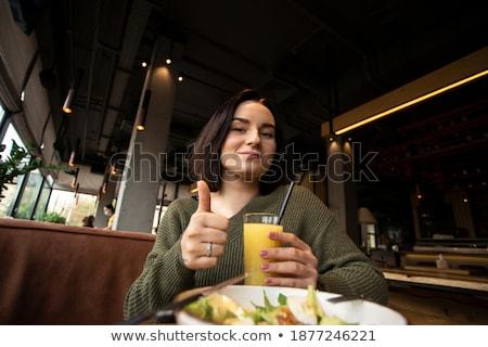 Fiatal nő tart tál férfi előtér étel Stock fotó © photography33
