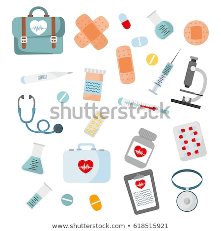 Medical stuff- thermometer, syringe and pills Stock photo © Arsgera