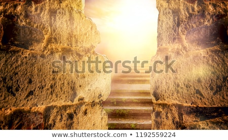 Foto stock: Staircase Leading To Heaven Or Hell Light At The End Of The Tun