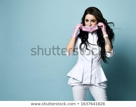 joli · jeunes · brunette · gants · pomme · femme - photo stock © acidgrey