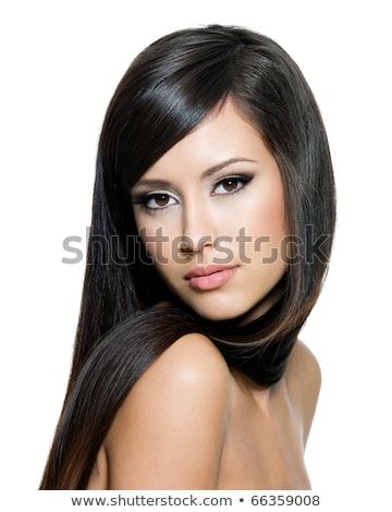 Young brown-haired woman posing on white background Stock photo © photography33