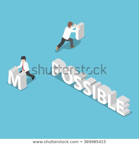 verandering · onmogelijk · mogelijk · zakenvrouw · Rood · zwarte - stockfoto © maxmitzu