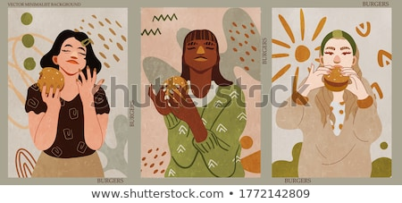 Cartoon mano hamburger disegno arte Foto d'archivio © indiwarm