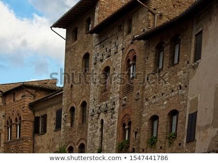 Stok fotoğraf: Ancient Brown Door Stone Doorway Medieval Town San Gimignano Tus