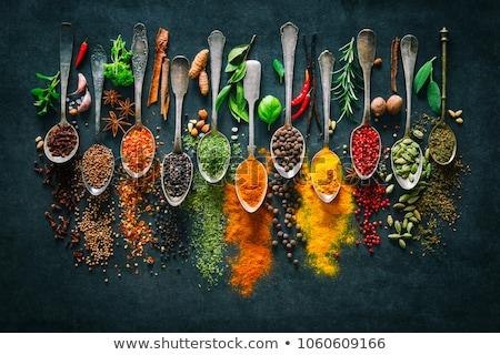 pimienta · cuchara · de · madera · canela · hojas · especias · alimentos - foto stock © zerbor