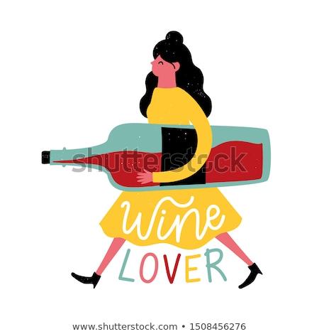 Mulher festejando garrafa vinho elegante preto Foto stock © fantasticrabbit