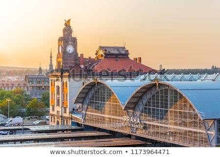 Vasút Prága Csehország panoráma kereszteződés központi Stock fotó © rglinsky77
