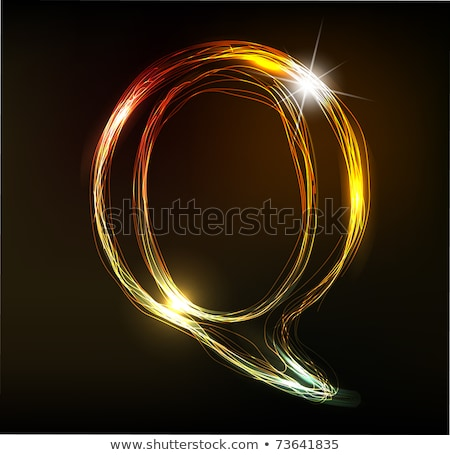 izzó · neon · betűtípus · fényes · q · betű · fekete - stock fotó © designer_things