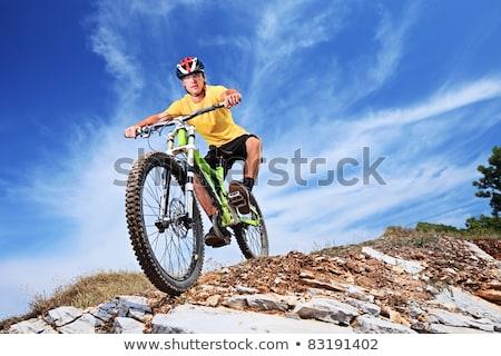 helm · paardrijden · mountainbike · gelukkig · berg - stockfoto © meinzahn