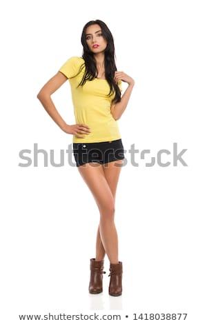 Kadın uzun bacaklar seksi yalıtılmış beyaz güzellik Stok fotoğraf © Andersonrise
