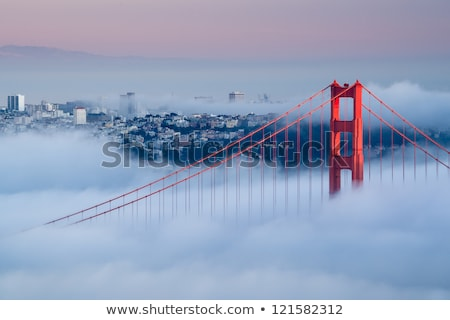 Golden Gate Bridge névoa San Francisco céu água cidade Foto stock © hanusst