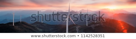 aerial landscape with wind mill for electricity generation Stock photo © meinzahn